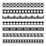 Set czarny i biały geometrical element linie Zdjęcia Stock