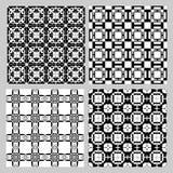 Set czarny i biały roczników wzory Dekoracyjna dachówkowa kolekcja w art deco stylu Powtarzalny geometryczny ornament Zdjęcia Stock