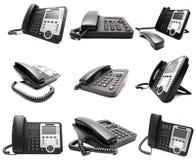 Set Czarny IP biurowy telefon odizolowywający Obraz Royalty Free