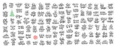 Set 100 czarnych atramentów bożych narodzeń i szczęśliwego nowego roku świętowanie Fotografia Stock