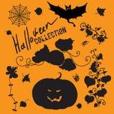 Set czarodziejskie czarne Halloween ikony ilustracji