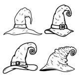 Set czarownicy kapeluszowa ilustracja odizolowywająca na białym tle Projektuje element dla plakata, karta, sztandar, t koszula, w Zdjęcia Stock