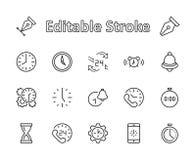 Set czasu wektoru linii ikony Zawiera taki ikony jak zegar, prędkość, alarm, przywrócić, czasu zarządzanie i więcej, _ ilustracji