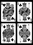 Set czaszek karta do gry w Czarny I Biały Ilustracja Wektor