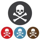 Set czaszka i crossbones ikona na kolorowi okręgi również zwrócić corel ilustracji wektora ilustracji