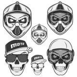 Set czaszka steru motosport i rowerzysta sport Fotografia Royalty Free