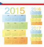 Set of Czech 2015, 2016, 2017 color vector calendars. Week starts from Monday royalty free illustration