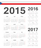 Set of Czech 2015, 2016, 2017 year vector calendars Royalty Free Stock Image
