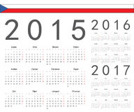 Set of Czech 2015, 2016, 2017 year vector calendars. Week starts from Monday vector illustration