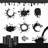Set czerń oleju pluśnięcie i krople ilustracja wektor