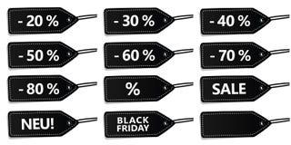 Set czerni etykietki dla sprzedaży royalty ilustracja