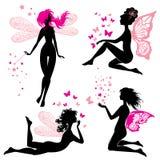 Set czerni i menchii sylwetki czarodziejskie dziewczyny z motylami Zdjęcie Royalty Free