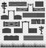 Set czerni ogrodzenia z bramami Zdjęcia Royalty Free