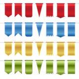 Set czerwień, błękit, złoto i zieleni glansowani faborki, Obraz Stock