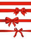 Set czerwień ono kłania się na bielu dekoracyjny projektów elementów wektoru illu ilustracja wektor
