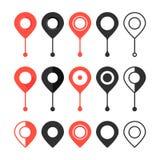 Set czerwieni i czerni mapy szpilka ilustracja wektor