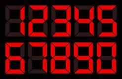 Set czerwona cyfrowa liczba royalty ilustracja