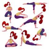 Set 8 czerwona z włosami kobieta robi różnorodności joga ćwiczy Joga dziewczyny inkasowe Dziewczyny w różnych asanas Ręka rysując ilustracja wektor