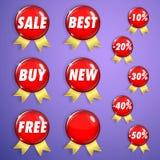 Set czerwone błyszczące odznaki z faborkami na sprzedaży Fotografia Stock