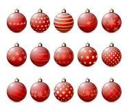 Set czerwone Bożenarodzeniowe piłki Obrazy Royalty Free