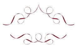 Set czerwone jedwabnicze tasiemkowe winiety Zdjęcia Royalty Free