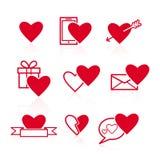 Set czerwone walentynek ikony na białym tle Fotografia Royalty Free
