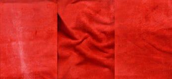 Set czerwone zamszowy skóry tekstury zdjęcia royalty free