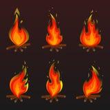 Set czerwonego ogienia ogniska ikony również zwrócić corel ilustracji wektora Ilustracja Wektor