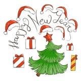 Set czerwoni Święty Mikołaj kapelusze, teraźniejszości drzewo i pudełka i Nowego roku literowanie ilustracji