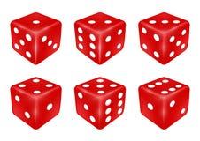 Set czerwoni kostka do gry trzy wymiaru ilustracja wektor