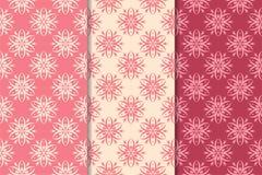 Set czerwoni kwieciści ornamenty Wiśnia różowi pionowo bezszwowi wzory royalty ilustracja