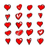 Set czerwoni serca, wektor royalty ilustracja