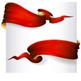 Set czerwoni tasiemkowi sztandary Zdjęcia Royalty Free