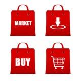 Set czerwoni torba na zakupy dla intrenet Zdjęcia Royalty Free