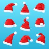 Set czerwony Święty Mikołaj kapelusz, nowy rok nakrętka ilustracja wektor