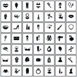 Set czterdzieści dziewięć piękno ikon Fotografia Royalty Free