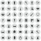Set czterdzieści dziewięć piękno ikon Obraz Stock