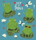 Set cztery żab śliczny remis w kreskówka stylu ilustracja wektor