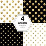 Set cztery abstrakcjonistyczny jaskrawy tło z złotą polką Zdjęcie Stock