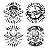 Set cztery baseballa rocznika wektorowego czarnego emblemata royalty ilustracja