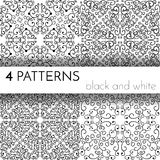 Set cztery bezszwowego czarny i biały wzoru Obrazy Stock