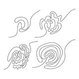 Set cztery czarnego doodle skomplikowanego labiryntu ilustracja wektor