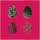 Set cztery czarnego Wielkanocnego jajka Fotografia Royalty Free