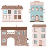 Set cztery domu Obrazy Stock