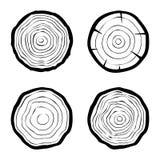 Set cztery drzewnych pierścionków ikony ilustracja wektor