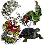 Set cztery feng shui niebiańskiego zwierzęcia Zdjęcie Stock