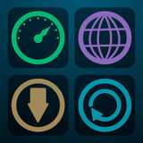 Set cztery ikony ściągać dane w różnych kolorach Obraz Royalty Free