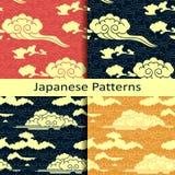 Set cztery japońskiego tradycyjnego chmurnego wzoru Fotografia Stock