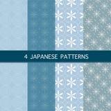 Set cztery japońskiego wzoru Fotografia Royalty Free