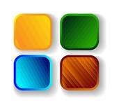 Set cztery kolorowego kwadratowego sztandaru wektor Zdjęcie Royalty Free